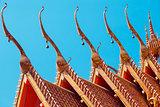 tiles temple roof bangkok thailand