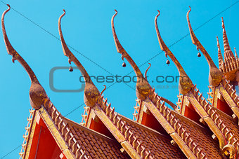 tiles temple roof bangkok thailand