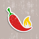 Chilli pepper retro label
