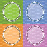 Lace oval frame with glass on the background polka dots. Set