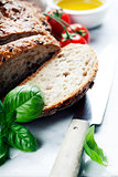 Bread, tomato, basil and olive oil
