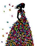 Silhouette of woman in a butterflies dress
