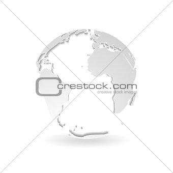Grey 3d outline globe design