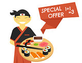 Sushi chef with special offer banner