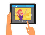 Social networking with a picture of redhair woman