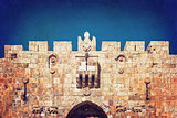 Lion Gate of the ancient wall surrounding  Old City  Jerusalem