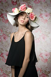 sensual brunette with floral hat