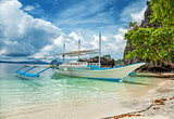 Traditional boat used for island hopping in El Nido, Philippines