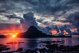 Stunning sunset scenery in El Nido, Philippines