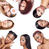 Collage of multiple beauty portaits of women with various skin tones