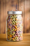 colorful cereal rings in jar