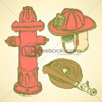 Sketch fire protection set vintage style