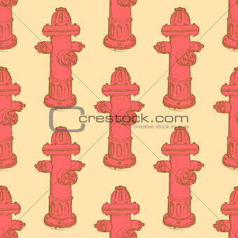 Sketch fire hydrant in vintage style