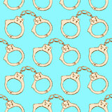 Sketch steel handcuffs in vintage style
