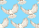 Sketch dove of peace in vintage style