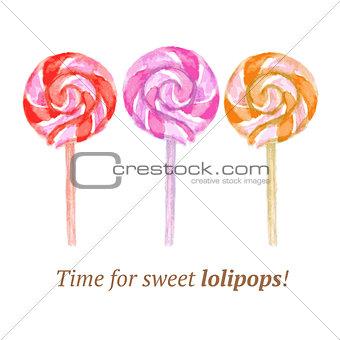 Watercolor tasty lollipop in vintage style