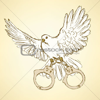 Sketch dove with handcuffs in vintage style