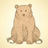 Sketch cute bearl in vintage style
