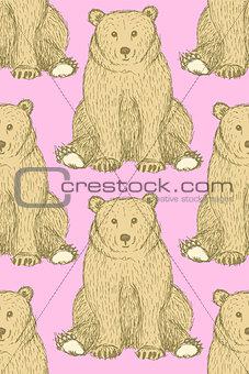 Sketch cute bear in vintage style