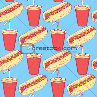 Sketch hotdog and soda in vintage style