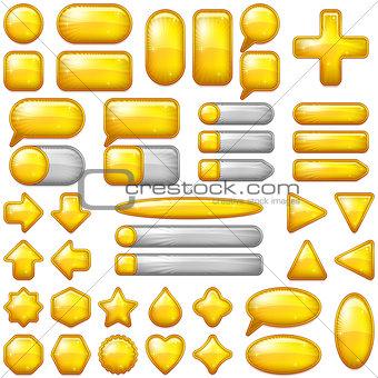 Gold Glass Buttons Set