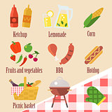 Illustrations of elements of a barbecue party