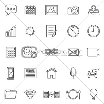 Application line icons on white background