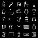 Bathroom line icons on black background