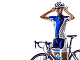 woman triathlon ironman athlete cyclist cycling