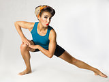 woman in sportswear doing gymnastics