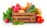 Fresh vegetables in wooden box