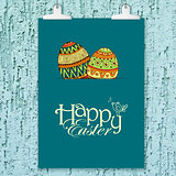 Easter background with colorful doodle eggs