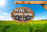 Fresh Milk - Wooden Sign in Countryside