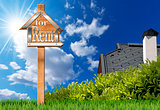 House For Rent - Wooden Sign with Pole