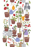 Seamless vertical pattern with gardening tools, flower pots,herbs and vegetables.