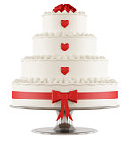 Wedding cake on white