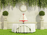 Wedding cake in a garden