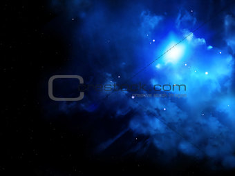 Beautiful space scene with stars and nebula