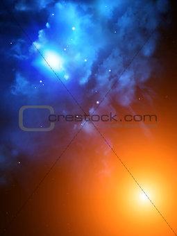 Beautiful space scene with sun and nebula