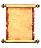 Scroll of old parchment with decorative ornament