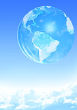 Earth on blue sky background