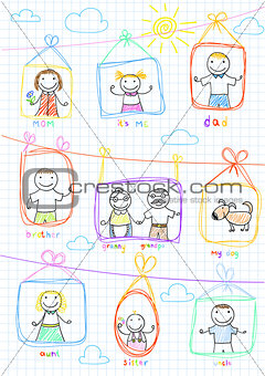 Portraits of happy family