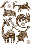 Set of vector African traditional patterns with animals