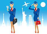 attractive stewardess holding briefcase