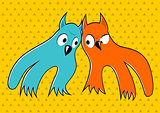 two cartoon monsters looking at each other