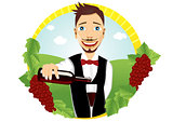 young smiling waiter pours red wine