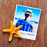 starfish, and an instant photo with the text happy summer
