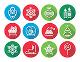 Christmas flat design icons - Xmas tree, angel, snowflake