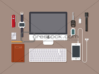 Office workspace. Top view of desk workplace background with computer, flat design.