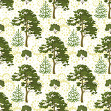 Seamless, trees and floral pattern